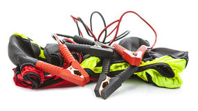 Jump Leads and snow socks (chains) winter consept on white backg Stock Images