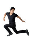Jump man black shirt Blessed isolated Royalty Free Stock Photo