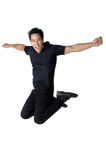 Jump man black shirt Blessed isolated Royalty Free Stock Images