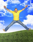 Jump man in nature Royalty Free Stock Image