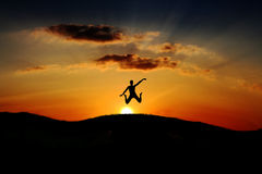 Jump man on sunset Royalty Free Stock Photos