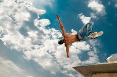 Jump man under sky Royalty Free Stock Photography