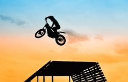 Jump with motorbike Stock Photo