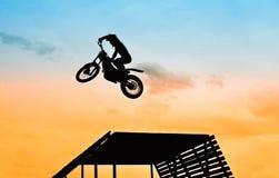 Jump with motorbike Stock Photo