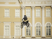Jump on a motorcycle Royalty Free Stock Images