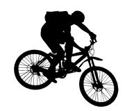Jump with a mountain bike. Silhouette Stock Photography