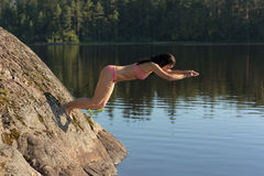 Jump off a cliff Royalty Free Stock Photos