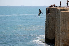 Jump off the wall Royalty Free Stock Photography