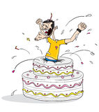 Jump out birthday cake. Cartoon illustration of a man jumping out of a birthday cake Royalty Free Stock Photo