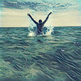 Jump out of the sea water. Etching style digital illustration with ocean, horizon and sky. Royalty Free Stock Photos
