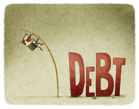 Jump over a debt. Businessman jump over a debt with a pole royalty free illustration
