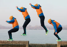 Jump phases. Man in different phases of jumping royalty free stock image