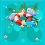 Jump into the pool. Summer holiday theme for poster, card, flyer. etc. eps 10 file, with no gradient meshes,blends,opacity, stroke path,brushes.Also all elements royalty free illustration