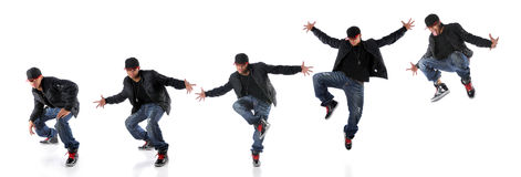 Jump Progression. African American hip hop dancer in dance jump progression Stock Photos
