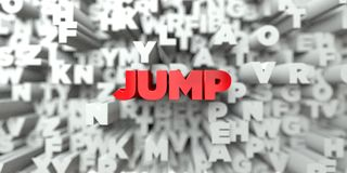 JUMP -  Red text on typography background - 3D rendered royalty free stock image Royalty Free Stock Photo