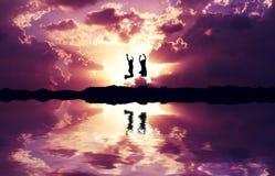 Jump reflection Royalty Free Stock Photo