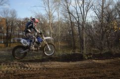 A jump rider on a motorcycle motocross Stock Photography