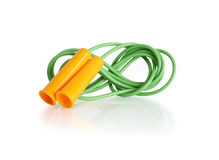 Jump Rope. Green jump rope with yellow handles on white background. Clipping path is included Royalty Free Stock Photos