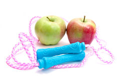 Jump rope and apples Stock Images