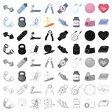 Jump rope, ball, scales other items for health.Gym And Workout set collection icons in cartoon style vector symbol stock. Illustration Royalty Free Stock Photography