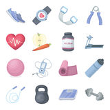 Jump rope, ball, scales other items for health.Gym And Workout set collection icons in cartoon style vector symbol stock. Illustration Royalty Free Stock Images