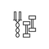Jump rope and dumbbell workout line icon, outline vector sign Royalty Free Stock Images