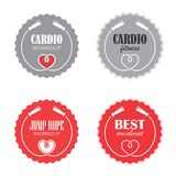 Jump rope. Four round signs with jump rope for cardio fitness royalty free illustration