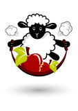 Jump rope sheep. Black white sheep with apples, illustration, jump rope stock illustration