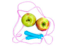 Jump rope and two apples Royalty Free Stock Image