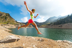 Jump while running trail Royalty Free Stock Image