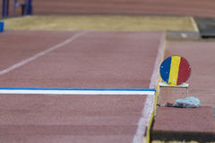 Jump sand box Stock Photo