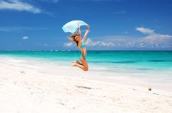 Jump with sarong Stock Photo