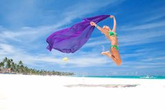 Jump with sarong Royalty Free Stock Photo