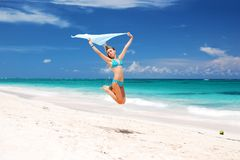 Jump with sarong Stock Photography