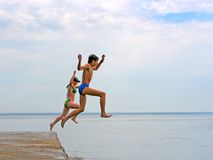 Jump in the sea Royalty Free Stock Images