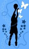 Jump shot. Basketball jump-shot black  illustration Royalty Free Stock Photos