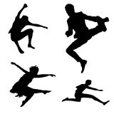 Jump Silhouette Set Stock Images