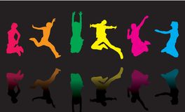 Jump silhouette (vector). 6 jump silhouettes with different color Royalty Free Stock Photos