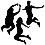 Jump Silhouettes. 3 Friends Stock Images