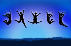 Children Jump sillhouette. Jumping sillhouette illustration concept background Stock Photography