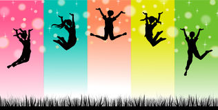 Kids Jump sillhouette. Jumping sillhouette illustration concept background Stock Photography