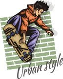 Jump on a skateboard -  vector color illustration Royalty Free Stock Image