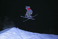Jump with ski. In mountain Royalty Free Stock Photo