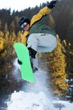 Jump with springboard. In forest Stock Images