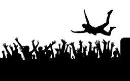 Jump from stage to crowd silhouette. Vector Royalty Free Stock Photography