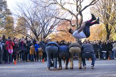 Jump street performance at central park new york stock photos