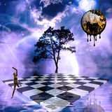 Jump. Surreal scene with checkerboard and melting time Royalty Free Stock Photography