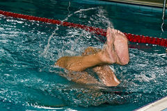 Jump swimmer in action Royalty Free Stock Photography