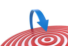 Jump on the target. 3D concept  with blue arrow and red target Stock Photography
