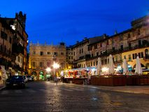 Piazza delle Erbe is a square in Verona, northern Italy. It was once the town`s forum during the time of the Roman Empire stock images